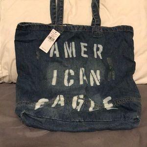 American Eagle distressed denim tote bag